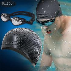 a8e21496df31 JvGood Silicone Swim Caps and Anti Fog UV Protection Waterproof Diving  Glasses fit for Women and
