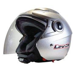 Lev3 Open Face BJ-3100 Motorcycle Helmet (Silver)