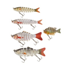 Lixada 5PCS/Box Lifelike Jointed Sections Trout Swimbait Fishing Lure Hard Bait Fish Hook Bait
