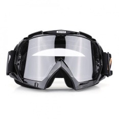 PHP 689. Motorcycle Motocross Dirt Bike Off-Road Racing Goggles Ski Glasses Eyewear (Black Clear-Lens) ...