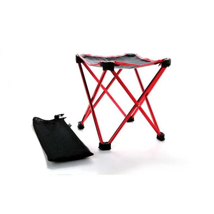 Outdoor ultra-light folding four-legged stool portable pony horse stool chair aluminum alloy fishing barbecue stool - intl