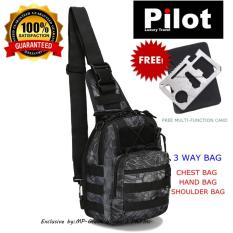 Pilot Army Fans C-001 Outdoor Travel Chest Tactical Bag Attack Training Scouts Camping Hiking Mens Best Gift With Free Army Multi-Function Card By Pilot Luxury Travel Shop.