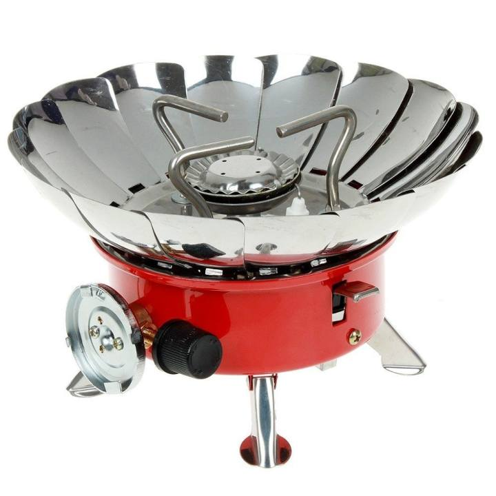 Portable K203 Windproof Camping Butane Gas Stove #0004 (Silver/Red)