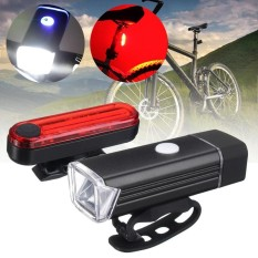 USB LED Bicycle Bike Front Headlight Rear Tail Light Rechargeable Warning Lamp Black