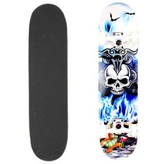 Wood Deck Flame Skull Blue Long Board Skateboard 79cm By Unicorn Selected.