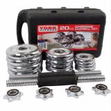 York Adjustable Spinlock Gym Fitness Chrome Dumbbell Set 20kg (silver) image on snachetto.com