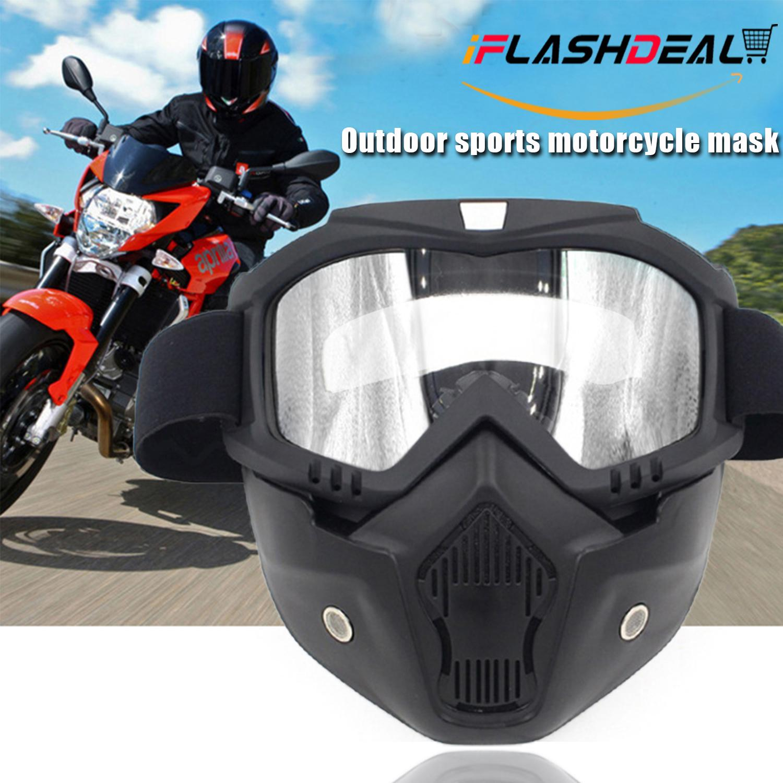 Iflashdeal หน้ากาก แว่นตารถจักรยานยนต์ที่ถอดออกได้และปากกรอง Harley สไตล์ป้องกัน Padding แว่นตากันแดด Detachable Uni Mask With Motorcycle Goggles By Iflashdeal.