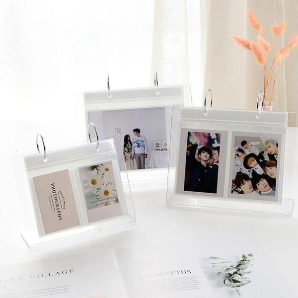 CUCLO3 Bưu Thiếp Đựng Thẻ Ngôi Sao Giá Để Ảnh Acrylic Hình Lá Rời, Album Ảnh Chất Kết Dính, Album Ảnh Để Bàn Album Lịch Album Instax