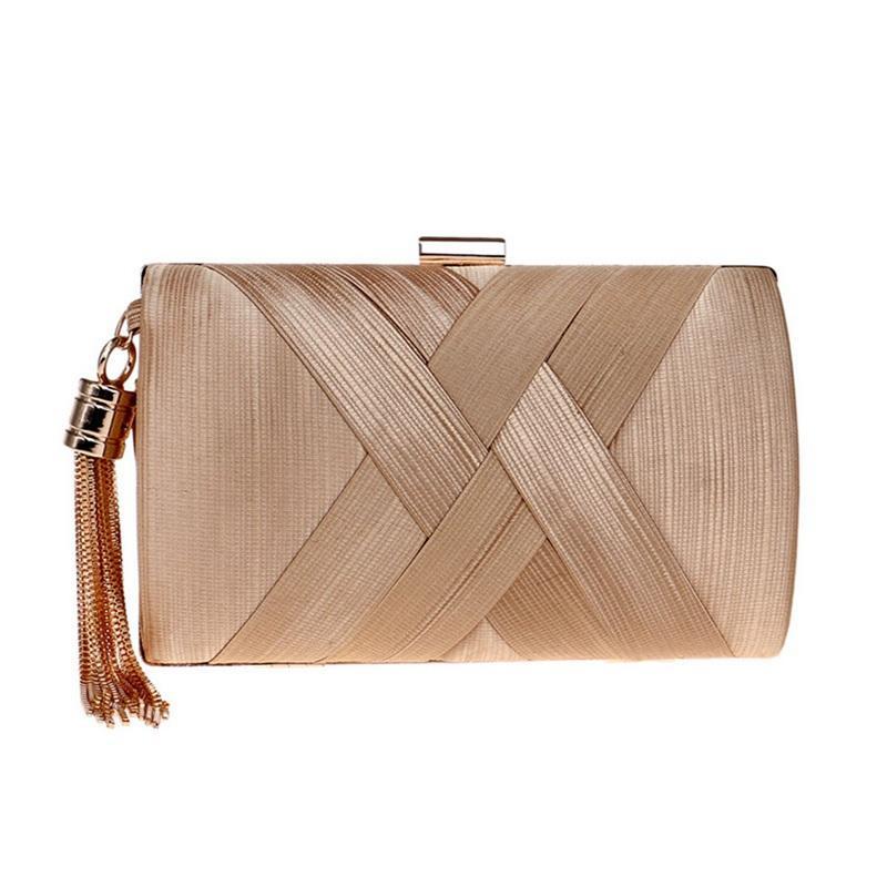 Tassel Fashion Ladies Clutch Bag Shoulder Handbags Female Party Wedding Evening Bag For Phone Purse Gold