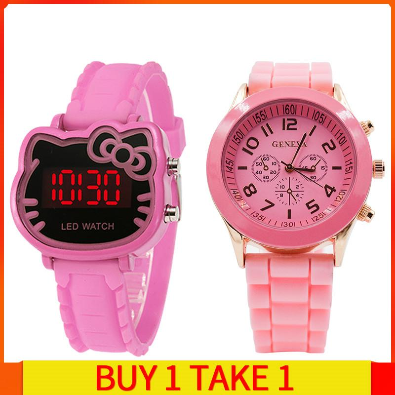 Watches Smart New Silicone Candy Jelly Color Student Watch Girls Clock Fashion Cute Cat Watches Children Wristwatch Cartoon Kids Quartz Watch New Varieties Are Introduced One After Another