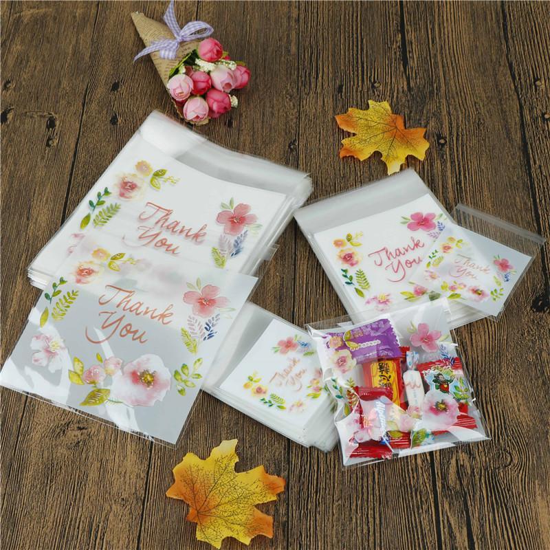 flower pattern thank you Self Adhesive Seal packing bags Cake Candy Bag 100pcs