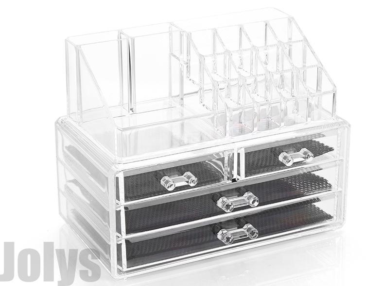 4 Drawers/3Layer Clear Acrylic Cosmetic Makeup Jewelry Storage Organizer Lipstick Holder Stand Make up