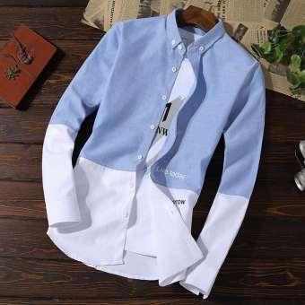 เจ้าชายพิมพ์ฤดูใบไม้ผลิใบไม้ร่วงใหม่ลำลองเสื้อเชิ้ตผ้า Oxford ชายแขนเสื้อยาวสลิมสไตล์เกาหลีเสื้อเชื้ตชายเสื้อผ้าวัยรุ่นน้ำ