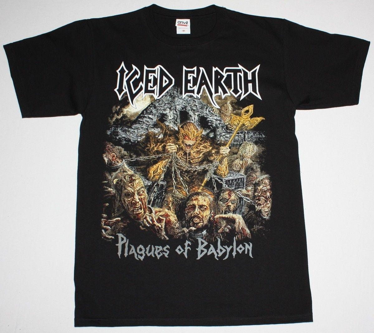 abb80037478 Iced Earth Worldwide Plagues Tour 2014 Heavy Power Metal 100% Cotton Short  Sleeve Men s T
