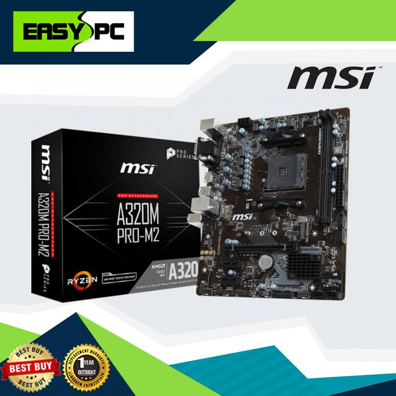 MSI A320M PRO-M2 M 2 Socket AM4 DDR4, Gaming Motherboard For AMD 1st, 2nd  gen Ryzen & 7th Generation A-series/ Athlon™ Processors, MSI A320 M PRO M2