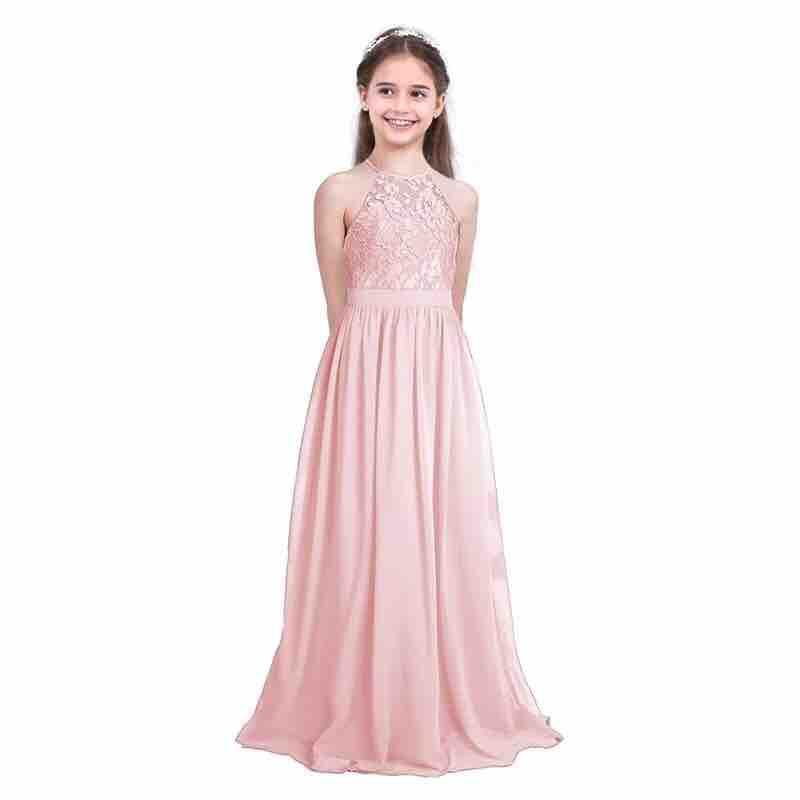 China. AJ b1968 Elegant Girls Lace Chiffon Sleeveless Halter Flower Girl  Dress Princess Pageant Wedding Bridesmaid Birthday 7a04931bb996