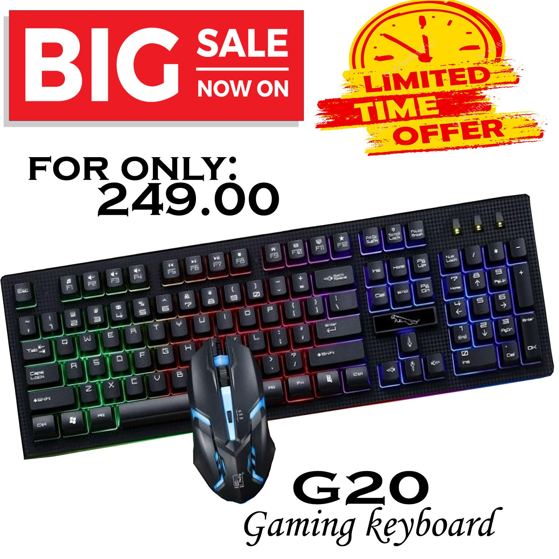 50b263996c2 AWEADN G20 Backlight LED Pro Gaming Keyboard USB Wired Powered Gamer  Keyboard With 2000 DPI Mouse
