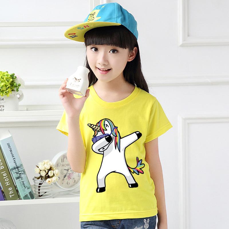 481eb9256c2a0 Tshirt for Unisex kids Swag Unicorn t-shirt Boy's T-shirt Girls Cartoon  Pattern T-shirt Children Summer Short Sleeves 100% Cotton Tee K1905
