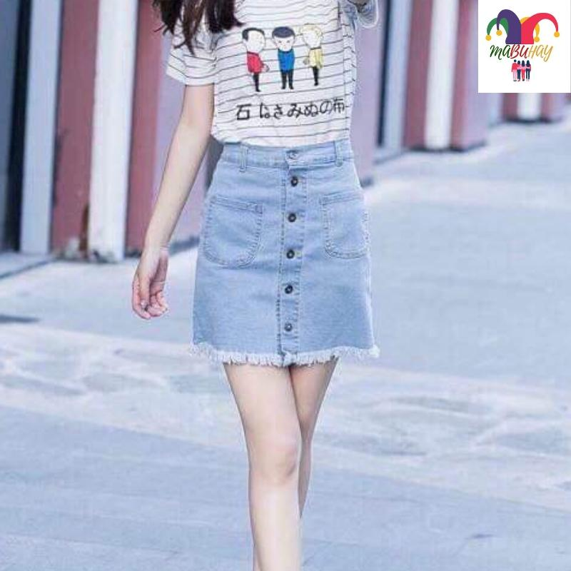 5ef16395db7 Spring And Autumn 2019 Korean Style New Style High-waisted Denim Skirt women  CHIC Thin