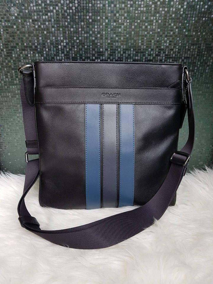 26e510b9538b Authentic Coach Charles Crossbody In Varsity Leather F54193 - Navy Blue