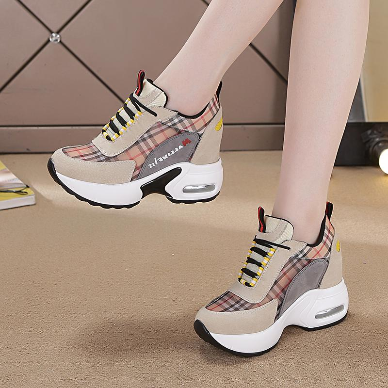 b1f5287b4bc women Elevator White Shoes 2019 Spring New Style Punched Sheet Surface  OLdPAPA Sports Casual Tourism Running Shoes Fashion
