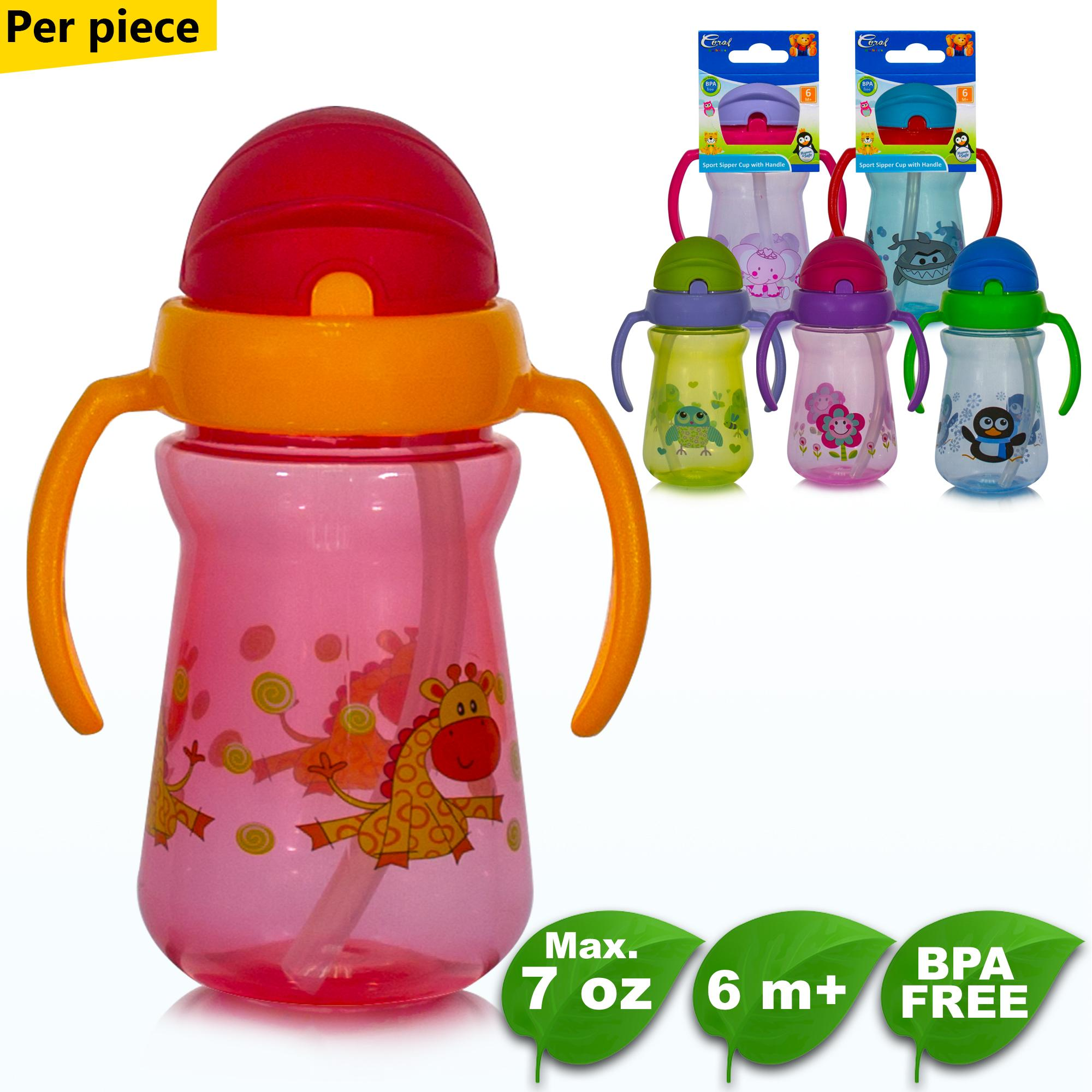 BPA FREE Coral Babies Sport Sipper Cup with Handle