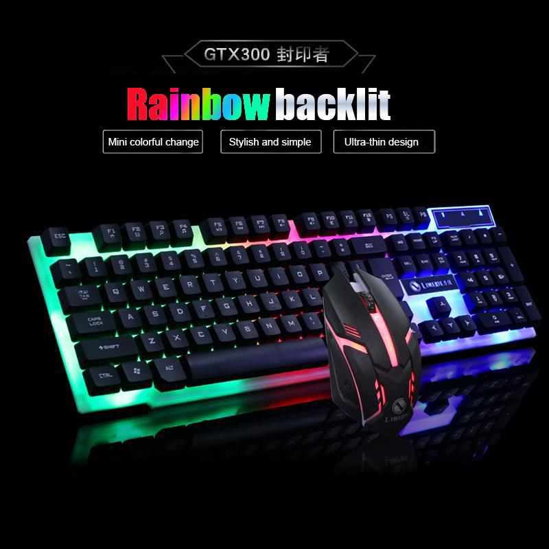 Mechanical hand-feeling keyboard and mouse set rainbow hanging backlight  keyboard mouse Gaming keyboard LED keyboard