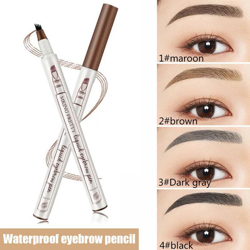 adb6adf25e4 Music Flower Makeup 3 Colours Fine Sketch Liquid Eyebrow Pen Waterproof  Tattoo Super Natural Eyebrow Pencil