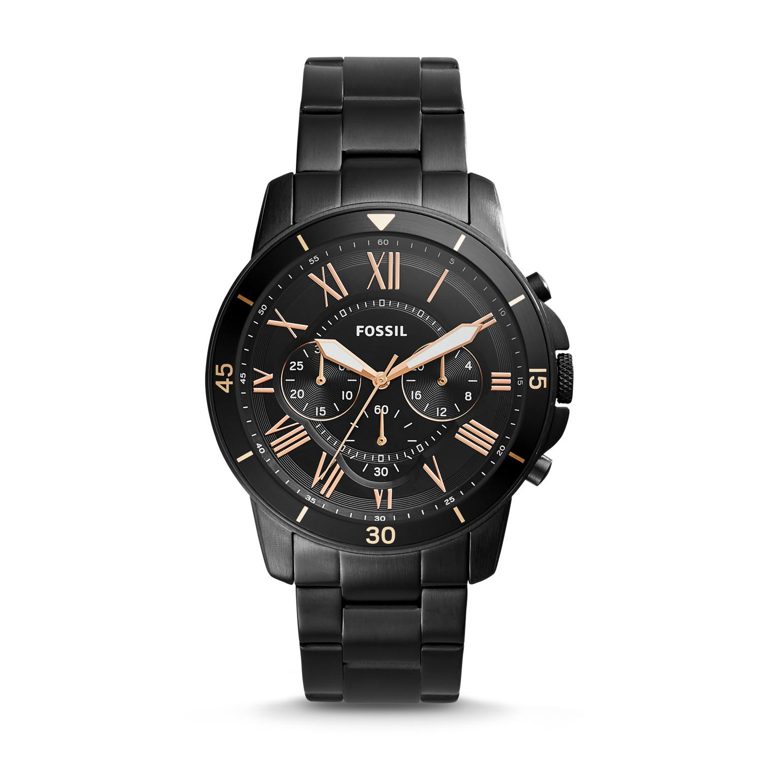 228a260e46da Philippines. FOSSIL Grant Sport Chronograph Black Stainless Steel Watch  MENS FS5374