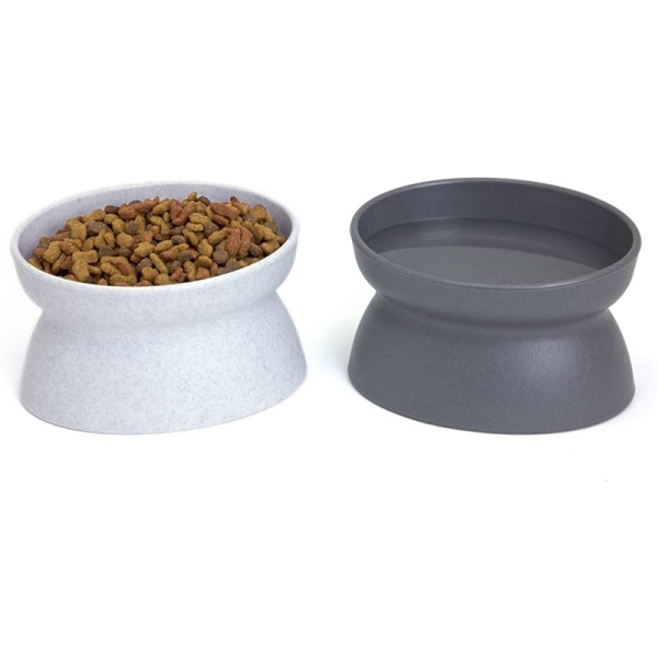 2 PCS, Cat Bowls, Cat Food Water Bowls, Cat Bowls with Stand,Dim Sum Bowl with Water Bowl on the Front and Back