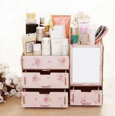 Phoebes Wooden Diy Make Up organizer Box PINK FLORAL Philippines