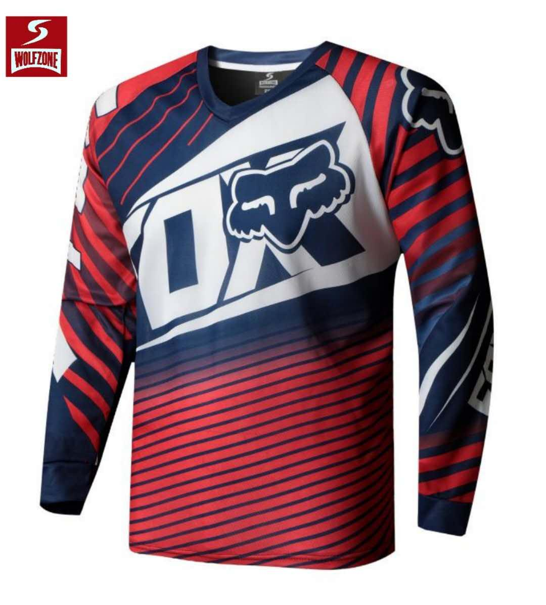 Wolf Zone Spandex Fox Longsleeve Men s Sportswear Quick DryFortress Cycling  Mountain Bike Motocross Motorcycle MTB 43bffa654