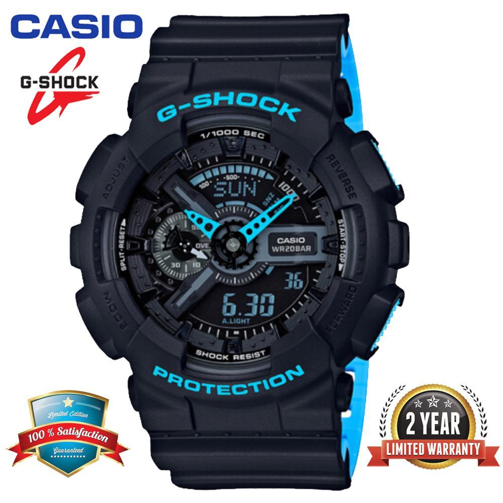 Casio_ Đồng hồ đeo tay thể thao nam G Shock GA110 chính hãng Hiển thị thời gian kép 200M Chống nước và chống nước Thời gian thế giới LED Đồng hồ đeo tay thể thao nhẹ tự động với bảo hành 2 năm GA-110LN-1A Đen xanh (Sẵn sàng)