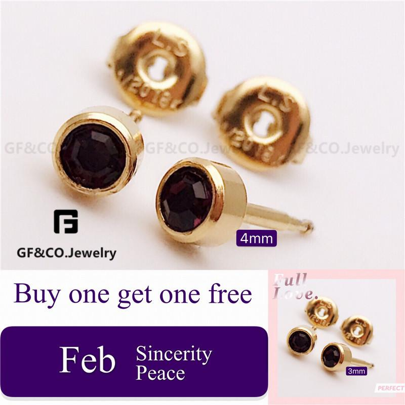 bcffbaaddbf6 Birthstone Gold 18K Jewelry Stainless Swarovski Stud Earrings EZ3011-