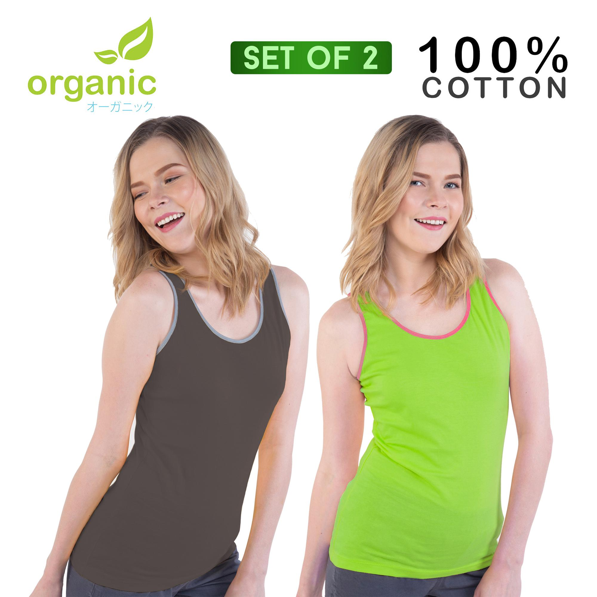 3d274c748db Organic Ladies (Set of 2) 100% Cotton Tank Top Sando Racerback Fashionable  Tees