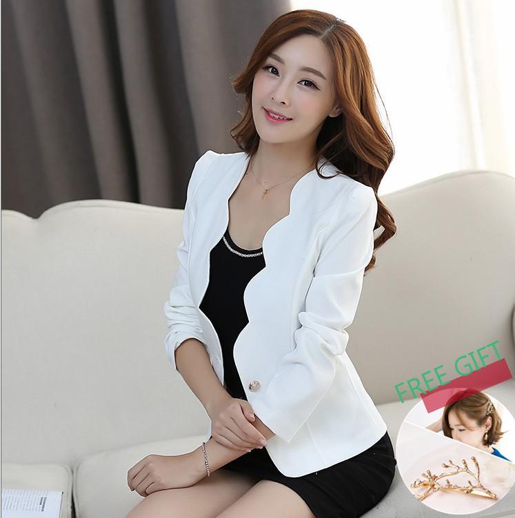 7b3bd9523 Hong Kong SAR China. 【Buy One Free One Gift】2019 casual jackets women slim  short design suit jackets