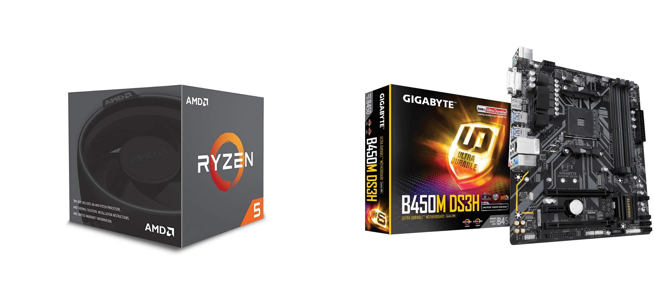 AMD Ryzen 5 2600 Processor with GIGABYTE B450M DS3H Ultra Durable  Motherboard