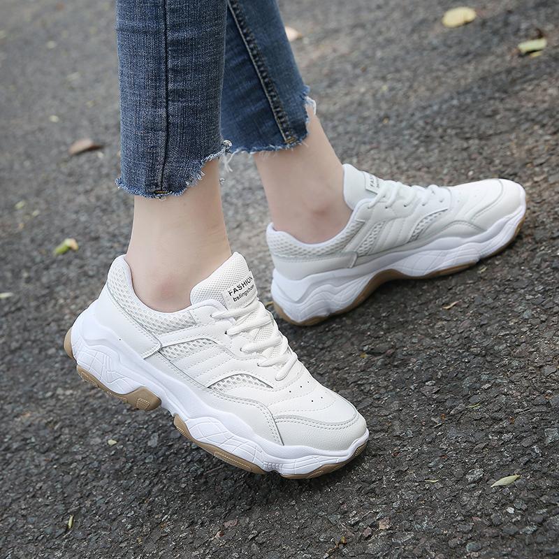 รองเท้าผ้าใบทรงสูงนักเรียนหญิง 2019 ฤดูใบไม้ผลิสำหรับฤดูร้อนใหม่สไตล์เกาหลีเข้าได้หลายชุดยอดนิยมรองเท้าระบายอากาศพื้นหนารองเท้ากีฬาลำลอง By Taobao Collection.