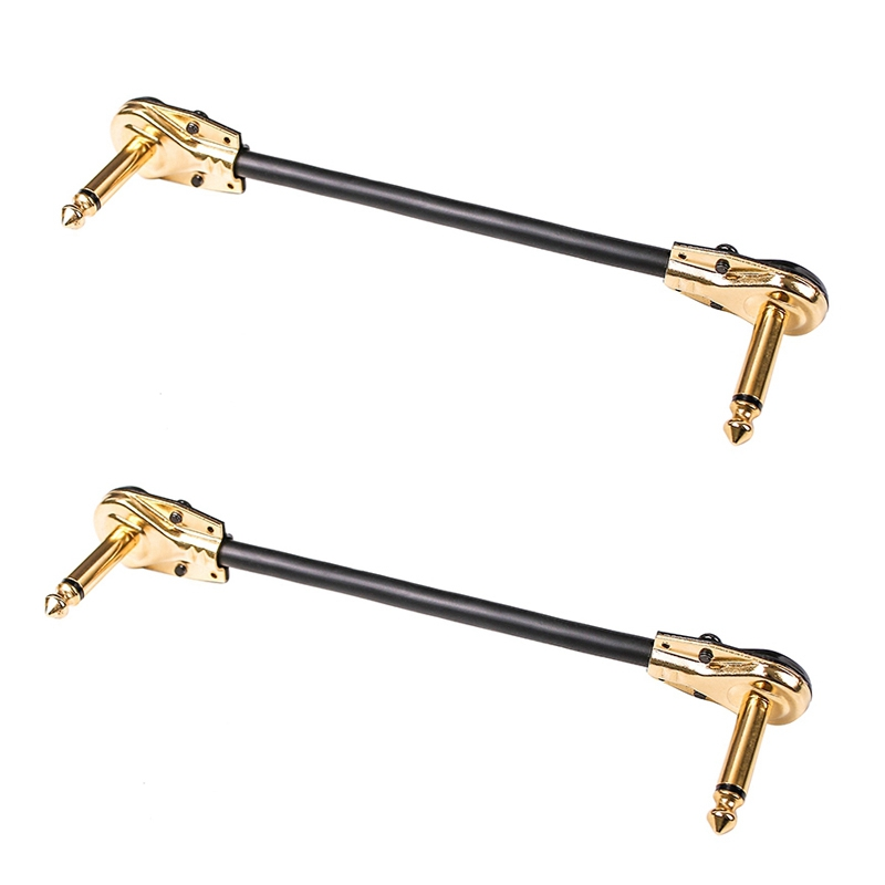 2Pcs 15cm Length Universal 6.35mm Guitar Effect Pedal Power Supply Cable Wire Guitar Effects Power Line for Electric Guitar Flat Head Glod