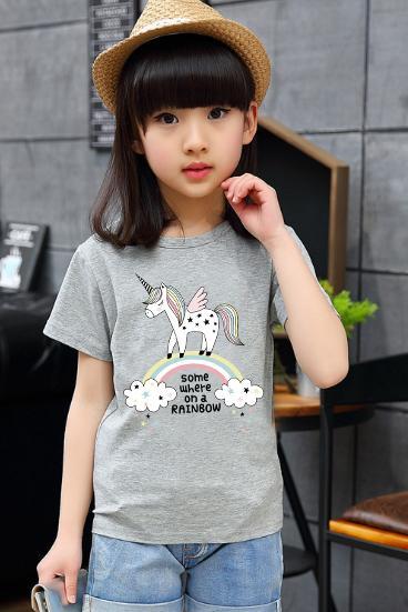 Tshirt For Kids Unicorn Rainbow Funny T Shirt Boys T-Shirt Girls Cartoon Pattern T-Shirt Children Summer Short Sleeves 100% Cotton Tee K1902 By Green Box.