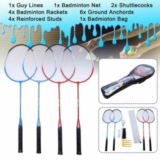 Vợt cầu lông chuyên nghiệp Bộ 4 vợt đá cầu Túi lưới thumbnail