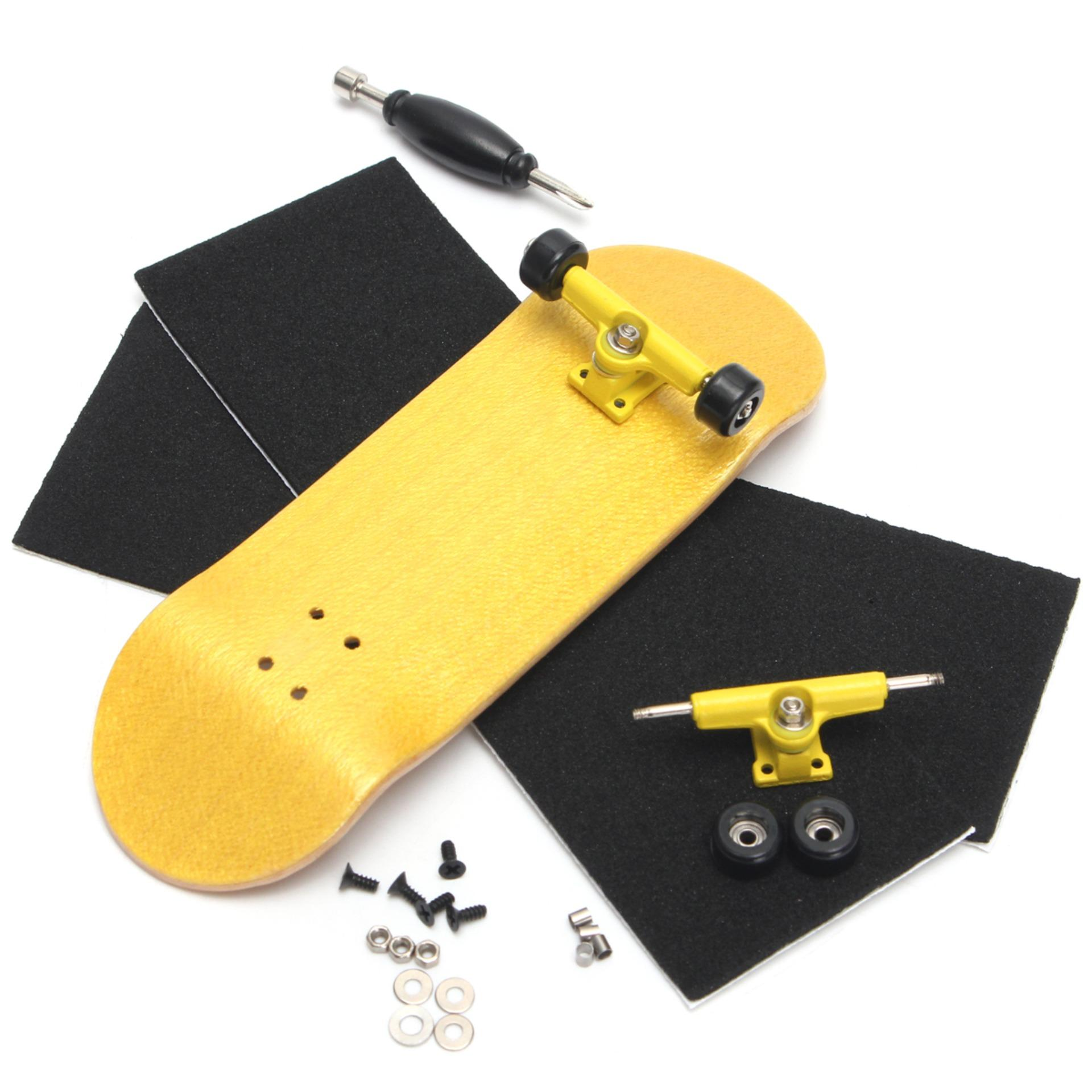 Complete Wooden Fingerboard Finger Skate Board Sport Kids Toy (yellow) - Intl By Freebang.