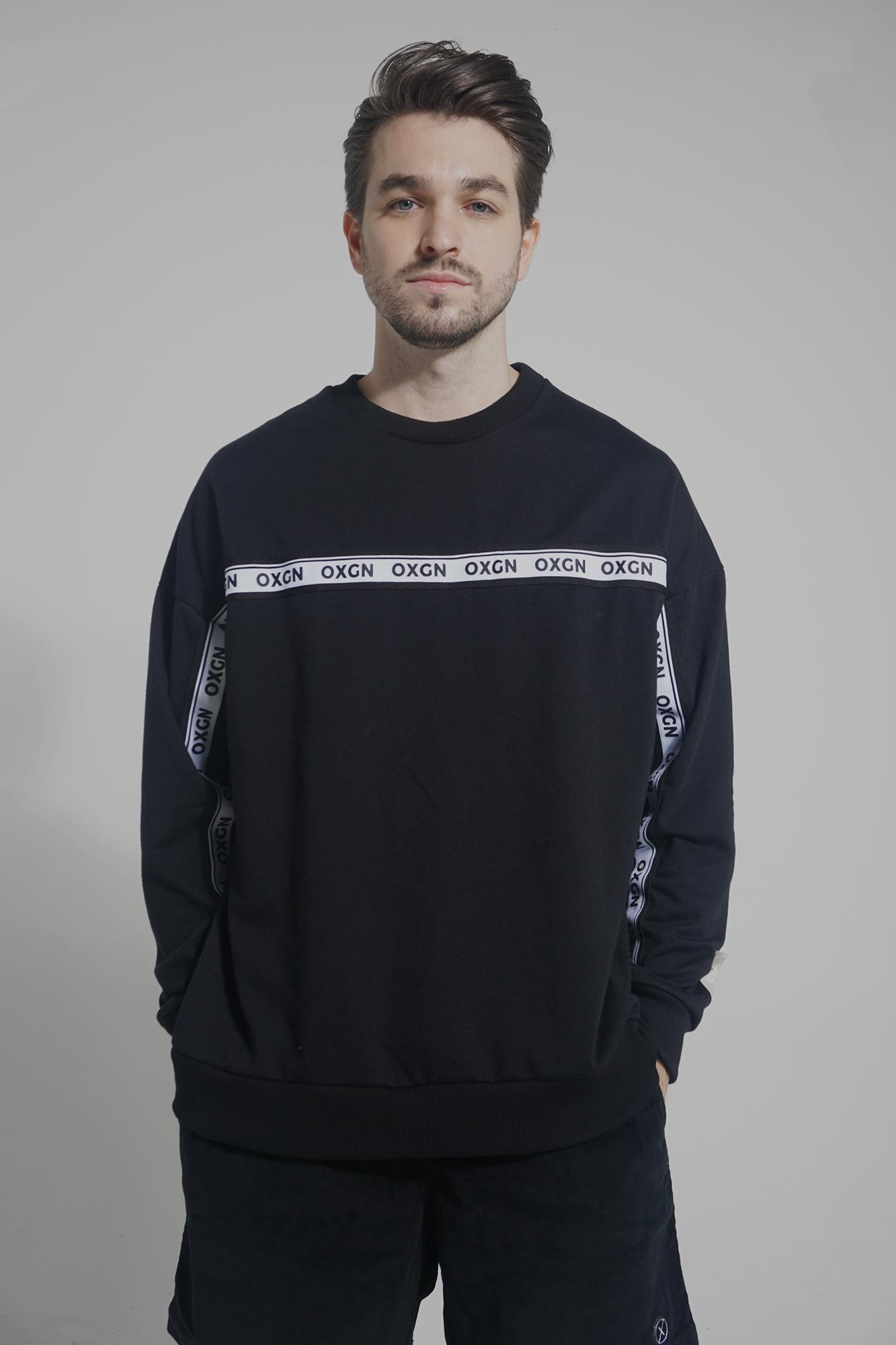 OXGN Women's Premium Threads Pullover With Contrast Trim (Black)