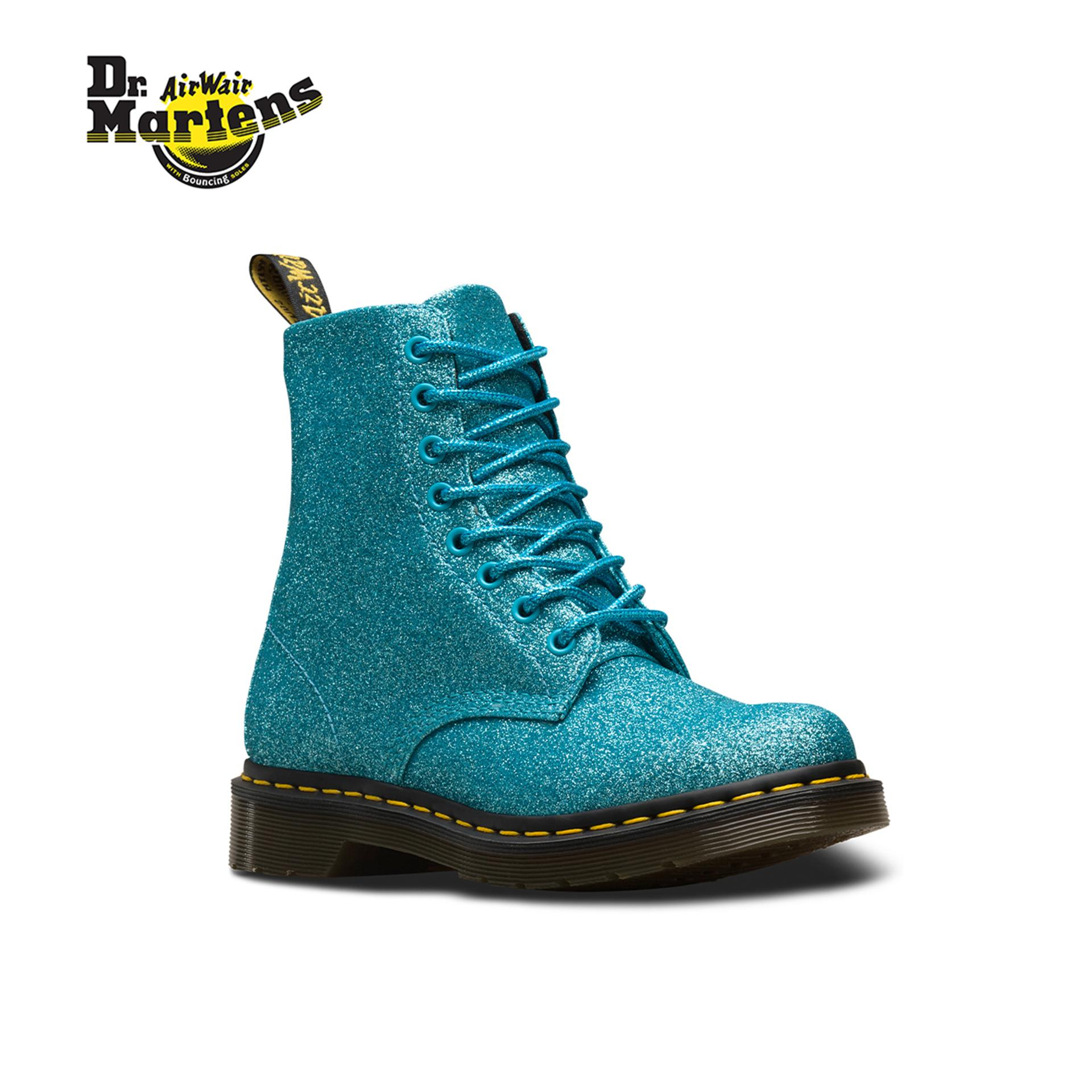 39bc7e77861 Dr Martens 1460 Glitter Iconic 8-Eye Boots Turquoise Glitter Pu (Blue) For  Womens