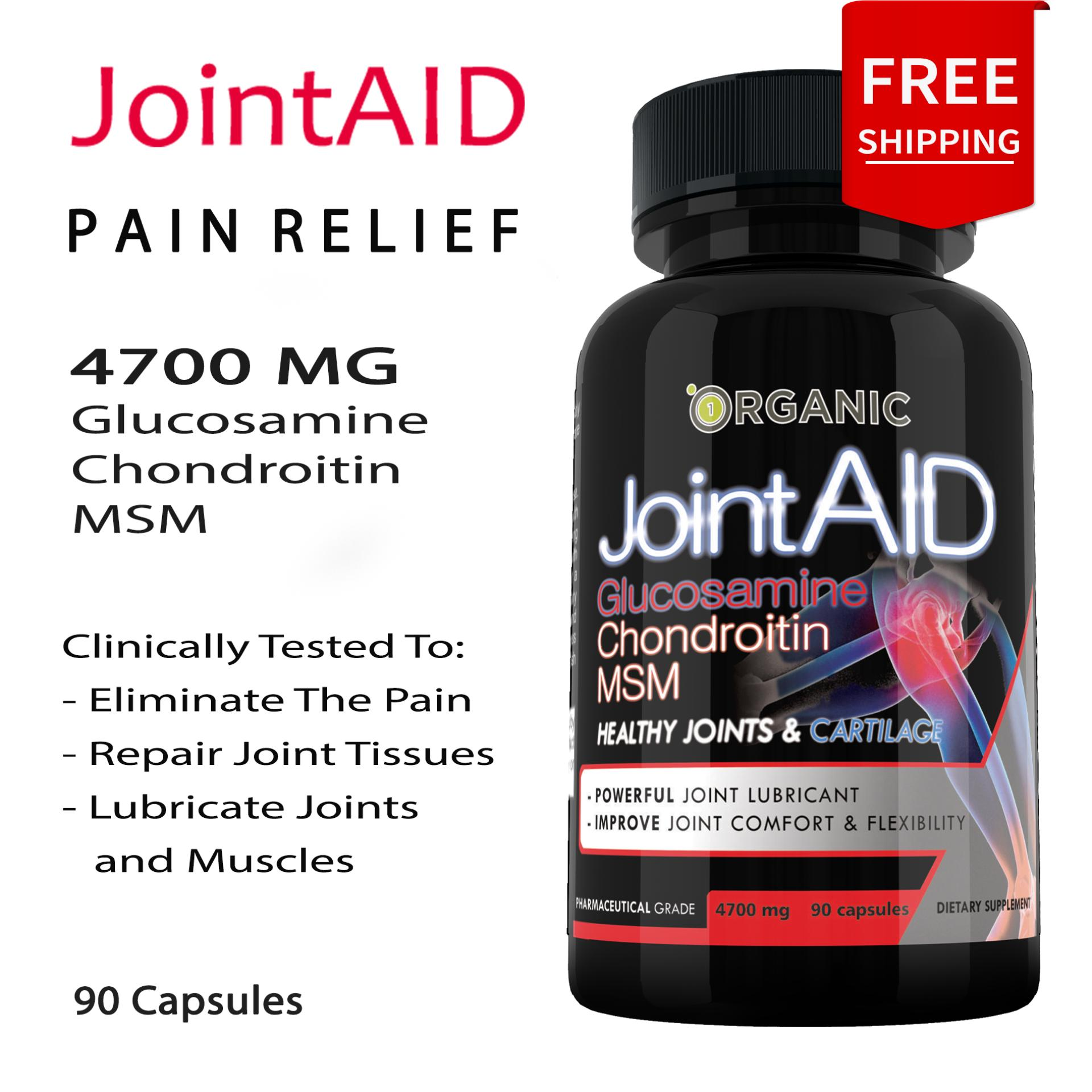 JointAid Pain Relief Supplement, Joint Repair, Glucosamine Chondroitin MSM  Collagen, 90 caps, 4700MG, Post Workout Recovery, Muscle REPAIR and