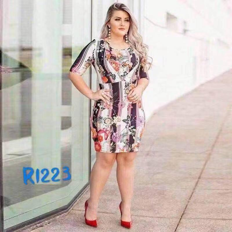 3aa10ac9d08 Sebrina store fashion floral printed plus size dress for women spring and  summer bodycon dress 2019