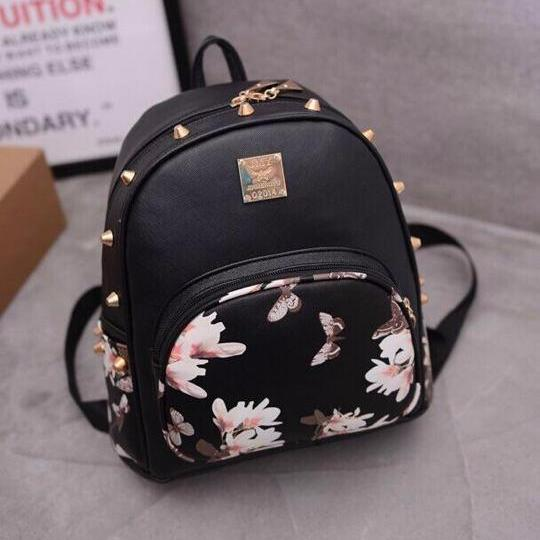 UISN MALL Korean Leather Floral Backpack #8803