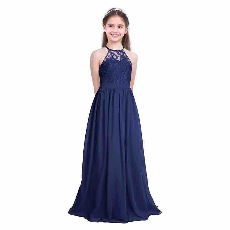 5283976ad38 AJ b1968 Elegant Girls Lace Chiffon Sleeveless Halter Flower Girl Dress  Princess Pageant Wedding Bridesmaid Birthday