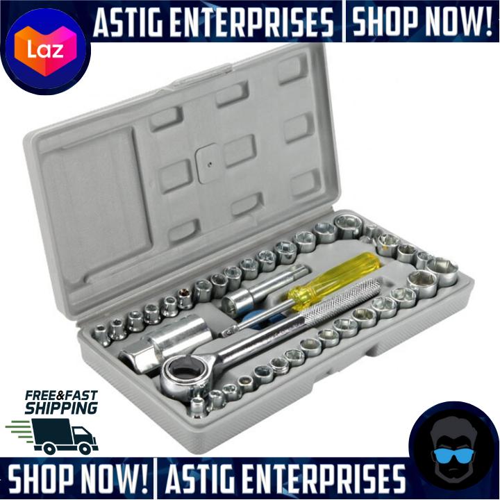 40 Piece SAE and Metric Mechanics Tool Set Case Socket Ratchet Wrench Home Car