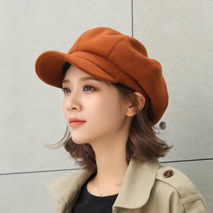 ae946ed61f2016 Woolen Octagonal Cap Female England Autumn And Winter Korean Style Japanese- style Versatile Hat Women's